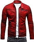 CRONE Epic Herren Lederjacke Cleane Leichte Basic Jacke aus weichem Schafs-Leder (L, Vintage Rot)