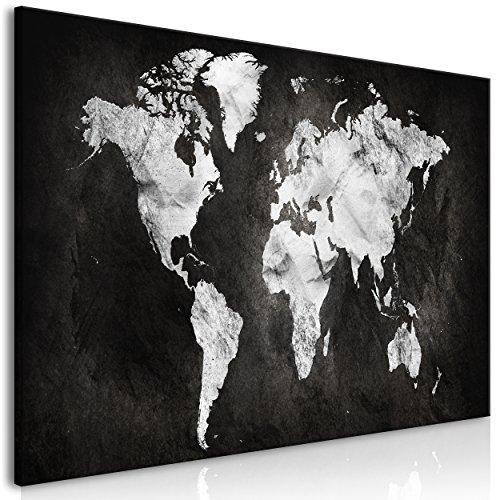 decomonkey Bilder Weltkarte 100x45 cm 1 Teilig Leinwandbilder Bild auf Leinwand Vlies Wandbild Kunstdruck Wanddeko Wand Wohnzimmer Wanddekoration Deko Landkarte Welt Kontinent Schwarz Grau (Landkarte Welt Auf Leinwand)