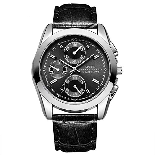 Herren Uhren,L'ananas Sport Stil Anolog Quarz 3 Kleine Zifferblätter Dekor Leuchtend Bambus Korn PU Leder Armbanduhren Wristwatches (Pures Schwarz)