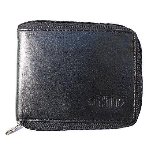 Big Skinny Men's Zipfold Leather Bi-Fold Slim Wallet, Holds Up to 25 Cards, Black by Big Skinny (Big Skinny Bifold)