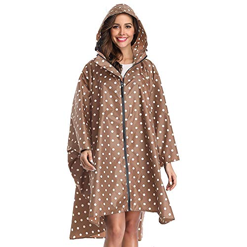 LINENLUX Regen Poncho Jacke Mantel für Erwachsene Ponchos Regen Kapuze Wasserdicht mit Reißverschluss im Freien, L, Point Coffee