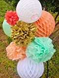 SUNBEAUTY Coral Mint Peach Gold Paper Lanterns Home Party Wedding Honeycomb Ball