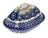 Traditionelle Polnische Keramik, handgefertigte Butterschale mit Deckel mit Muster im Bunzlauer Stil, B.201.PANSY