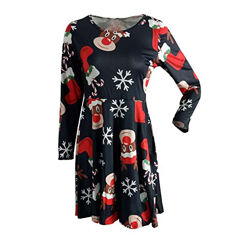 (Bealeuy Weihnachten Kleid Frauen Christmas Printed lange Sleeve Neu Niedriger Preis weihnachten Sweatshirt Neue Frauen Festival Mädchen gedruckt Swing Kleid Abend Party Kleid)