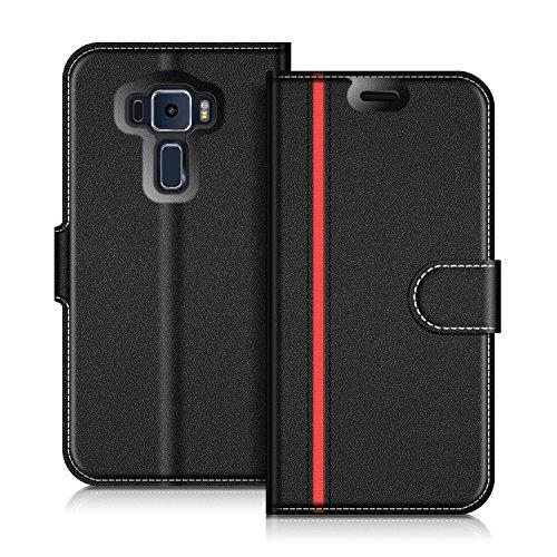 COODIO ASUS Zenfone 3 ZE520KL Hülle Leder Lederhülle Ledertasche Wallet Handyhülle Tasche Schutzhülle mit Magnetverschluss/Kartenfächer für ASUS Zenfone 3 ZE520KL, Schwarz/Rot