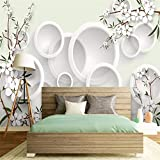 Pbldb Seidengewohnheitsfoto Des Wandtuches 3D Moderne Elegante Frische Blumen Kreis Heimwerkerdekoration Stoffdruckdekoration 3D-280X200Cm