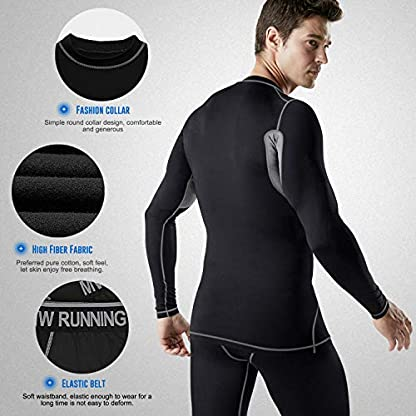 MeetHoo Men's Thermal Underwear Set, Compression Base Layer Sports Long Johns Fleece Lined Winter Gear Running Skiing 3