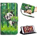 Edauto Motorola One (P30 Play) Hülle Leder Handyhülle Schutzhülle Flip Case 3D Gemalt Tasche PU Wallet Handytasche Bookstyle Ständer Kartensätze Magnetisch Brieftasche Bambuspanda