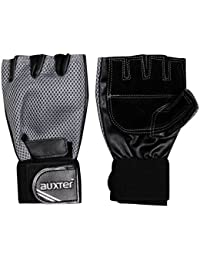 Auxter Finger Cut Weight Lifting Gym Gloves (Black)