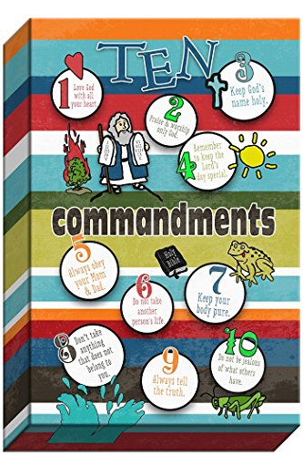 "Carpentree ""10 Commandment Kids Bubbles of Wisdom"" Canvas Artwork, 10 by 15-Inch"