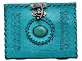 #9: Pranjals house Pure Genuine Real Vintage Leather Handmade paper Notebook Dairy For office Home to Write Poem Daily Update with metal Lock -Size of 4x6 inch (Blue)