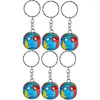 Sightui 6Pcs Globe Keychain World Travel Adventurer Key Ring World Map Earth Globe Art Pendant Round Ball Keychains Gift