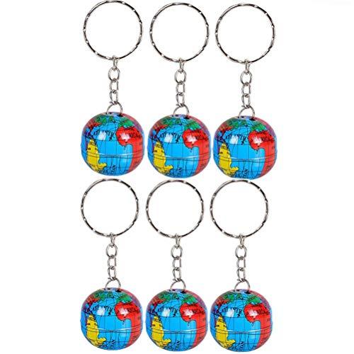 Kleine Weltkugel Anhänger (CHENLIGHT Schlüsselanhänger, Weltreise, Abenteurer, Weltkarte, Weltkarte, Weltkugel Kunst, Anhänger, runde Kugel, Geschenk, 6 Stück)