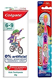 Colgate Toothpaste for Kids (6-9 years), Natural Strawberry Mint Flavour, 0% Artificial- 80g with Colgate Barb