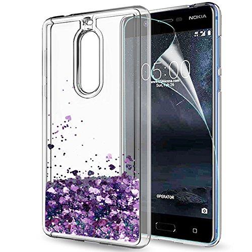 LeYi Hülle Nokia 5 Glitzer Handyhülle mit HD Folie Schutzfolie,Cover TPU Bumper Silikon Flüssigkeit Treibsand Clear Schutzhülle für Case Nokia 5 Handy Hüllen ZX Purple