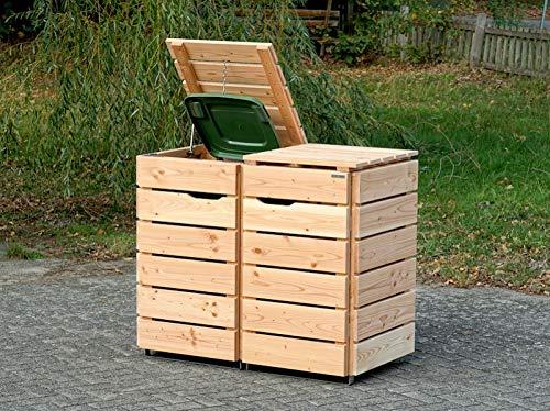 2er Mülltonnenbox / Mülltonnenverkleidung 120 L Holz, Douglasie Natur - 2