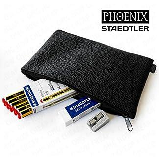 Staedtler – Juego de lápices Noris 120 HB, goma de borrar y sacapuntas de metal, en estuche de piel de Phoenix