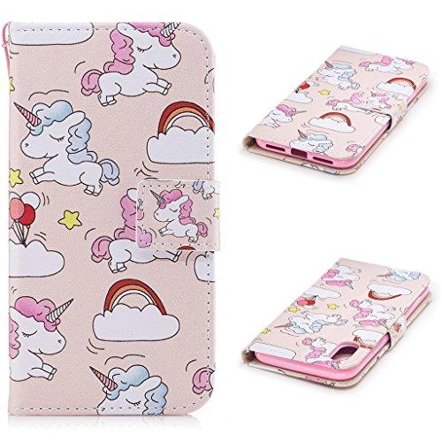 iPhone 8 Coque, Fodlon® Mode Peint Carte Machines à Sous avec Cordon Téléphone Case -Chat Blanc Rainbow Horse