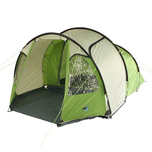 10T Camping-Zelt Mandiga 4 Tunnelzelt mit Schlafkabine für 4 Personen Outdoor Familienzelt mit Wohnraum, Dauerbelüftung, Bodenplane, wasserdicht mit 5000mm Wassersäule