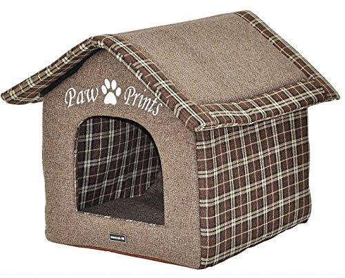 nanook William - Hundehöhle XL, Katzenhöhle, stabil, wasserdichter Boden, Tweed Optik - Farbe: braun mit Schrift