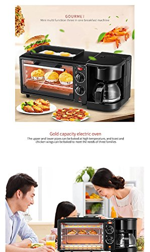 Breakfast Machine Mini Multi Function Three in One Breakfast Machine for Making Coffee Toasting Frieding Stainless Steel Black Used in Kitchen (Color : Black)
