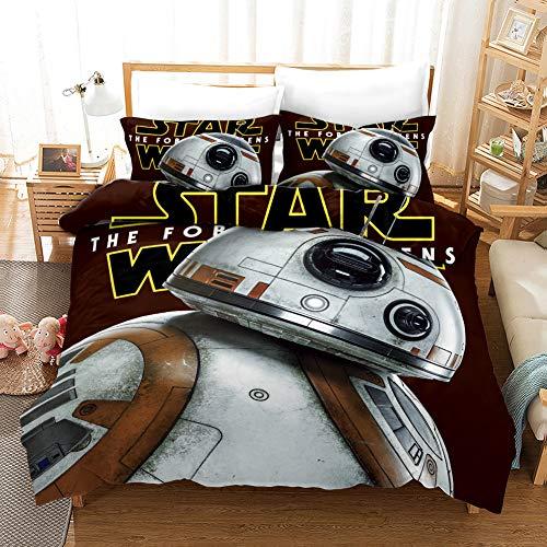 Yomoco Star Wars, set di lenzuola composto da copripiumino e federa, in microfibra, stampa digitale 3D, per letto singolo 135 x 200 cm