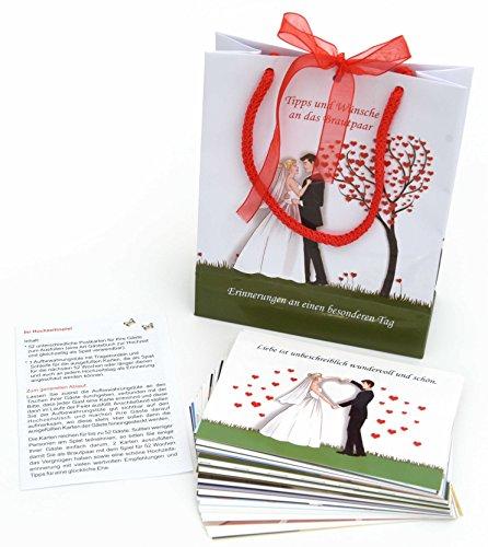 stkarten (verschiedene) für die Gäste zum Ausfüllen mit Tipps, Empfehlungen, Rezept für die Ehe usw. Set aus 52 Stück unterschiedlichen Karten als Hochzeit Erinnerung. ()