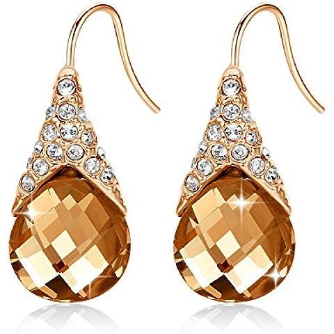 GoSparking Champagne di cristallo dell'oro oro rosa 18 carati placcato orecchini della lega Anelli con cristallo austriaco per le donne