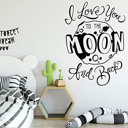 Modeganqingg Luna Staccabile Adesivi murali in PVC Camera dei Bambini Soggiorno Decorazione della casa Camera da Letto Scuola Materna Decorazione Nero XL 58 cm X 80 cm