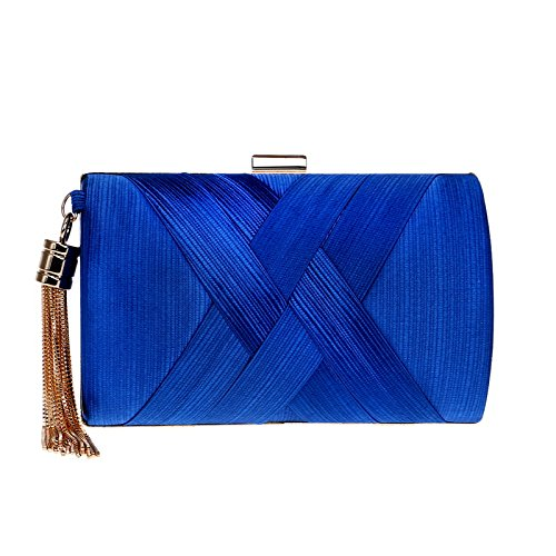 Evening Clutch Bag Stain Fabric Bridal Purse for Wedding Prom Night Out Party Blue (Abendtasche Clutch Buckle)