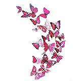 Alcyonée 12pcs 3d en PVC Papillons DIY Papillon Décor mural Stickers Art Autocollant Home Decor