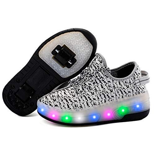 Homesave Skateboard Schuhe Kinderschuhe mit Rollen LED Skate Schuhe Roller Skate Shoes Rollen Schuhe mit Rollen Kinder Jungen Mädchen,Gray,34EU