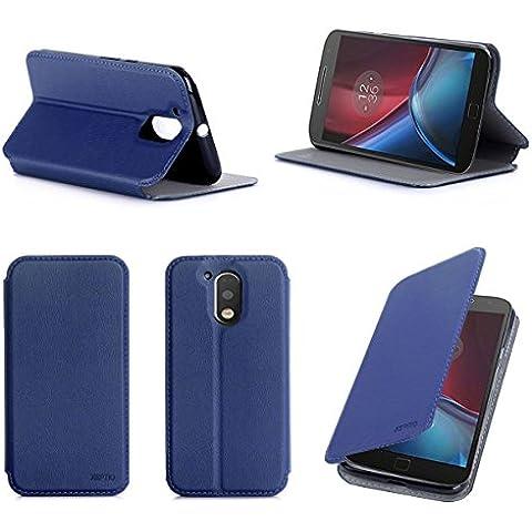 Azul Cuero Funda Folio Carcasa para Lenovo Motorola Moto G 4 Generación 2016 / G4 PLUS Dual Sim Piel Case Cover con Soporte - Flip cover caso para Moto G4/G4+ (PU Cuero - Accesorios XEPTIO case
