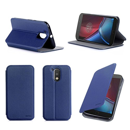 Lenovo Motorola Moto G4 PLUS 2016 5.5 zol 4G/LTE Dual Sim l Tasche Leder Hülle blau Cover mit Stand - Zubehör Etui shell smartphone Lenovo Moto G 4 PLUS (4 generation) Shell Flip Case Schutzhülle (PU Leder, Handytasche Blue) - XEPTIO accessories
