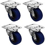 Juego de 4 ruedas pivotantes para carro de transporte (resistentes, caucho, 50 mm