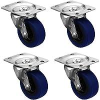 4x Heavy Duty Swivel Rubber Castor Caster Wheels 50mm Industrial Trolley Wheel Coldene Castors