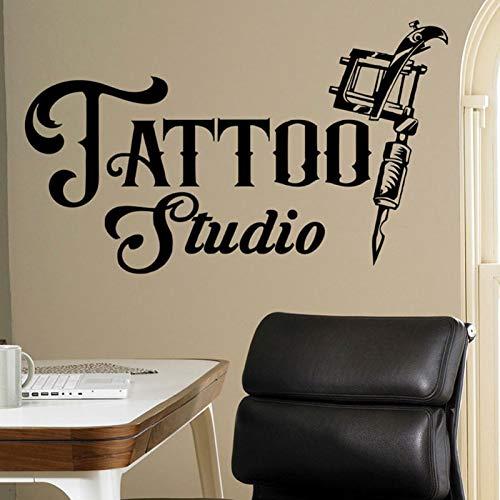 zhuziji In diesem Haus Wir Tun Wandaufkleber Ocker , Tattoo Zeichen Business Tattoo Maschinen Wand Vinyl PVC Wasserdicht Wohnzimmer Unternehmen Schule Büro Mu114x68cm