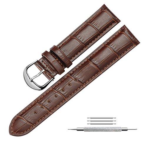 Uhrenarmband Echtem Leder Armband Ersatz Uhrenarmbänder für Herren und Damen, Fit für Traditionelle Uhren, Business Uhren und Smart Uhren 22mm Braun
