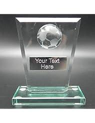 Forma rectangular Jade cristal premio de fútbol, 14 cm