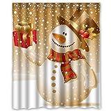 Yogogo Adventskalender Duschvorhang Aus Stoff | Weihnachten | Geschenk | Wasserdicht Duschvorhang | Waschbarer | Polyester | 150 x 180CM/60x72inch | 12 Stück Dusche Ringe | Rasch Trocknend (Mutilfarbe)