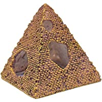 Scrox 1x Ornamento del Acuario Peces Camarones Tortugas Buque del Decoración Tanque de Peces para Escondite Cueva Accesorios Nave Pirámide de imitación Acuario Adorno Resina 9.2 * 9 * 10.2cm Oro