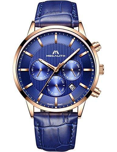 Herren Uhren Lederarmband Männer Chronograph Wasserdicht Luxus Mode Sport Datum Kalender Analog Quarz Stoppuhr Geschäfts Beiläufig Kleid Armbanduhr mit Blau Zifferblatt Echtes Lederband