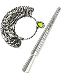 Meowoo Ringstock Ringmaß Dorn Set Messgerät für Den Durchmesser von Ringen Ringmesser Metall Werkzeug Verlobungsring Ringmaß