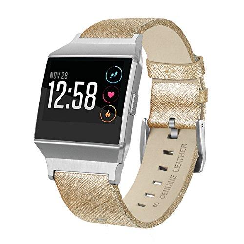 Bracelet pour Fitbit Ionic, LifeePro En Cuir Véritable Vintage Avec Boucle En Métal Pour Fitbit Ionic(D'Or)