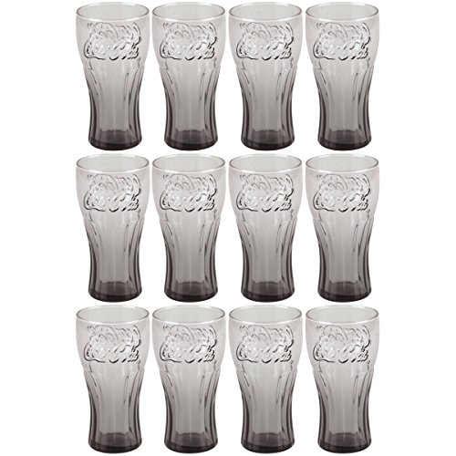 Trinken Sets Retro Gläser (Coca Cola–Set 12Gläser Becher Coca Cola contour Relief 3D Retro Vintage Smoke Schwarz 25cl)