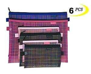 Zipper Bags Mesh Zipper Pouch Clear Zipper Pouch Small Organizer Bag Zipper Folder Bag Cosmetic Bags Travel Storage Bags, 6 Bags/Package, Colour Random. (MIX)