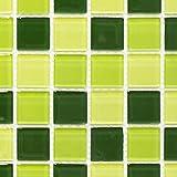 Mosaik Fliese Transluzent grün Glasmosaik Crystal hellgrün grün dunkelgrün für WAND BAD WC DUSCHE KÜCHE FLIESENSPIEGEL THEKENVERKLEIDUNG BADEWANNENVERKLEIDUNG Mosaikmatte Mosaikplatte