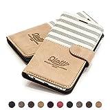 QIOTTI - Galaxy S6 Tasche Leder Case I Ledertasche Kartenfach Echtleder Hülle Lederhülle Ledercase Handyhülle Echtledertasche in Grau
