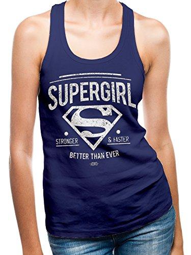I-D-C CID Supergirl-Better Than Ever, Camiseta de Tirantes para Mujer, Azul (Navy Blue), 38 (Tamaño Fabricante:Medium)