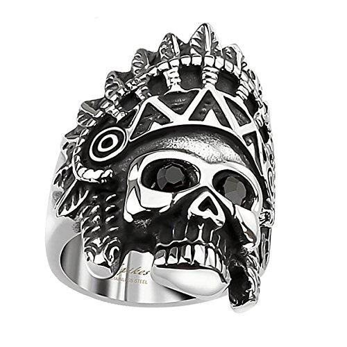 Piersando Herren Männer Biker Rocker Ring Apache Indianer Totenkopf schwarze Augen Edelstahl Silber Schwarz Größe 61 (19.4)